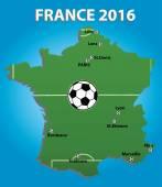 France soccer stadium map. — Vector de stock