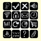 Set icons drawn chalks style, vector illustration. — 图库矢量图片