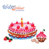 Pastries and cakes white background with space for text, waterco — Stock Vector
