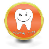 White Tooth Icon, dental care, — Stock Vector