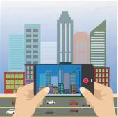 Hand holding a smartphone and makes photo cityscape — Stock Vector