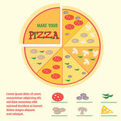 Pizza with different toppings, icons, space for text, infographi — Stock Vector