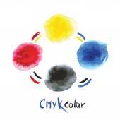 CMYK watercolor,hand painting — Stockvector