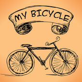 Hand-drawn bicycle on grungy background. — Stock Vector