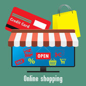 Online shopping. TV screen or monitor, a credit card and shoppin — Stock Vector