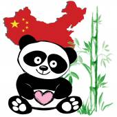 Little  cute panda  with bamboo and Chinese flag — Stock Vector