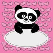 Little  cute panda with hearts , — Vetor de Stock