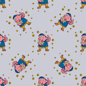 Seamless pattern pig with money — Vector de stock