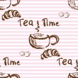Tea time vintage seamless background. — Stock Vector #73751655
