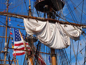 Ship Rigging And American Flag — Stock Photo
