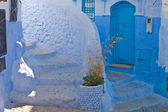 Street in the blue city of Chefchaouen — Стоковое фото