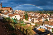 Calahorra with a rainbow — Stock Photo