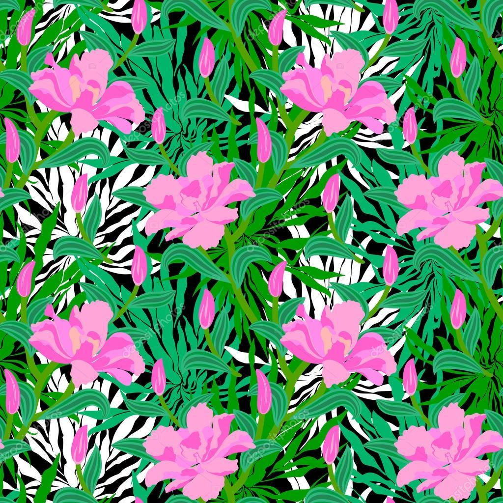 Patrón tropical con las flores de la selva — Vector de stock ...