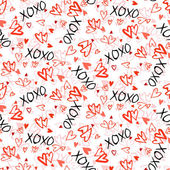 Pattern with hand painted hearts — Vettoriale Stock