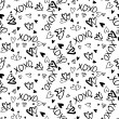 Pattern with hand painted hearts — Stock Vector #61651555
