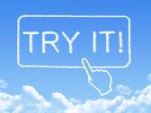 Try it message cloud shape — Stock Photo