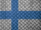 Finland flag on grunge wall — Stock Photo