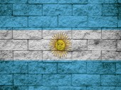Flag from Argentina painted on a stone wall — Stock Photo