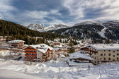 Ski Resort of Madonna di Campiglio, View from the Slope, Italian — Stock Photo