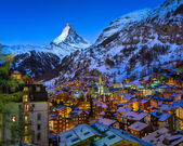 Aerial View on Zermatt Valley and Matterhorn Peak at Dawn, Switz — Stock Photo
