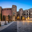 Panorama of Ancient Roman Gate and Placa Nova in the Morning, Ba — Stockfoto #67517819