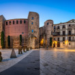 Panorama of Ancient Roman Gate and Placa Nova in the Morning, Ba — Foto de Stock   #67517819