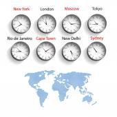 Time zones — Stock Vector