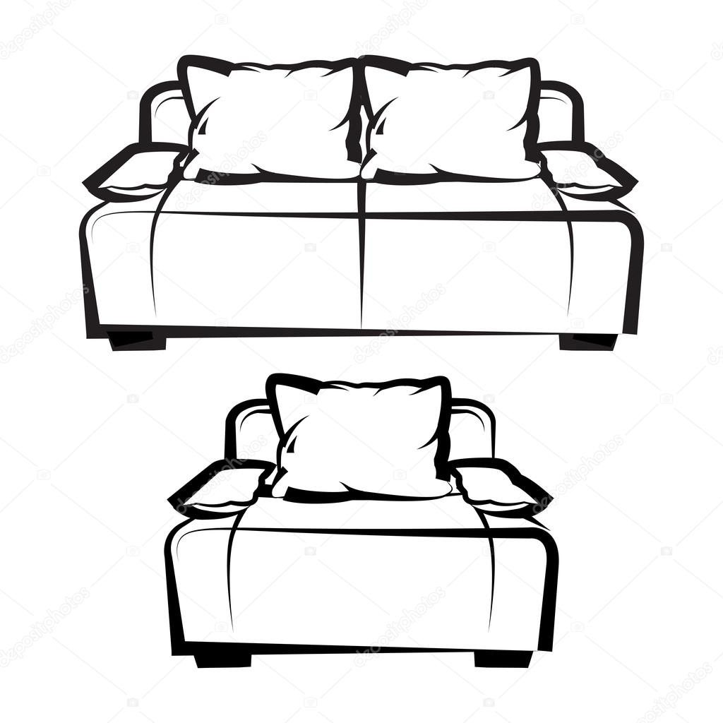 Black and white chair drawing - Chair And Sofa Freehand Drawing Icon Set Black And White Vector Illustration Vector By Sooolnce