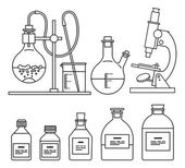 Chemical glassware icons set. — Stock Vector