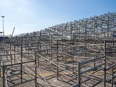 Temporary grandstand seats under construction — Stock Photo