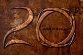 Anniversaire de 20 ans sur fond rouille métallique — Photo