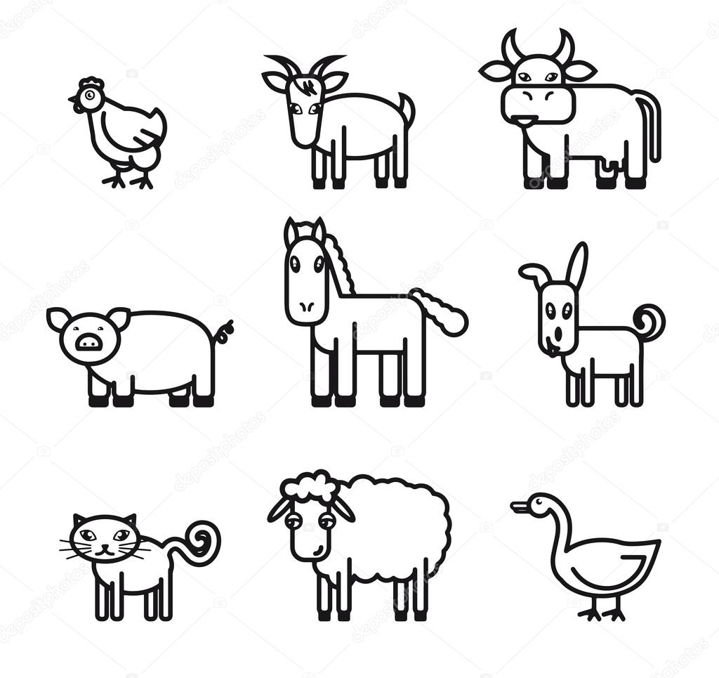 Line Drawings Of Farm Animals : Farm animals icons — stock vector lapuma