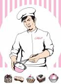 Man confectioner during cooking — Stock Vector