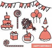 Attributes birthday girl — Stock Vector