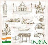Sehenswürdigkeiten Indien — Stockvektor