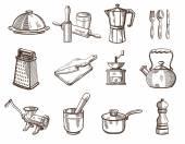 Cookware and kitchen utensils — Stock Vector