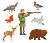 Hunter and wild animals — Stock Vector