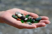 Sea pebble on the palm — Stock Photo