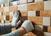 Laying Ceramic Tiles. — Stock Photo