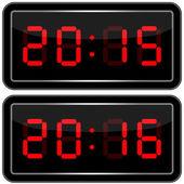 Digital Clock . Digital Uhr Nummer — Stock Vector