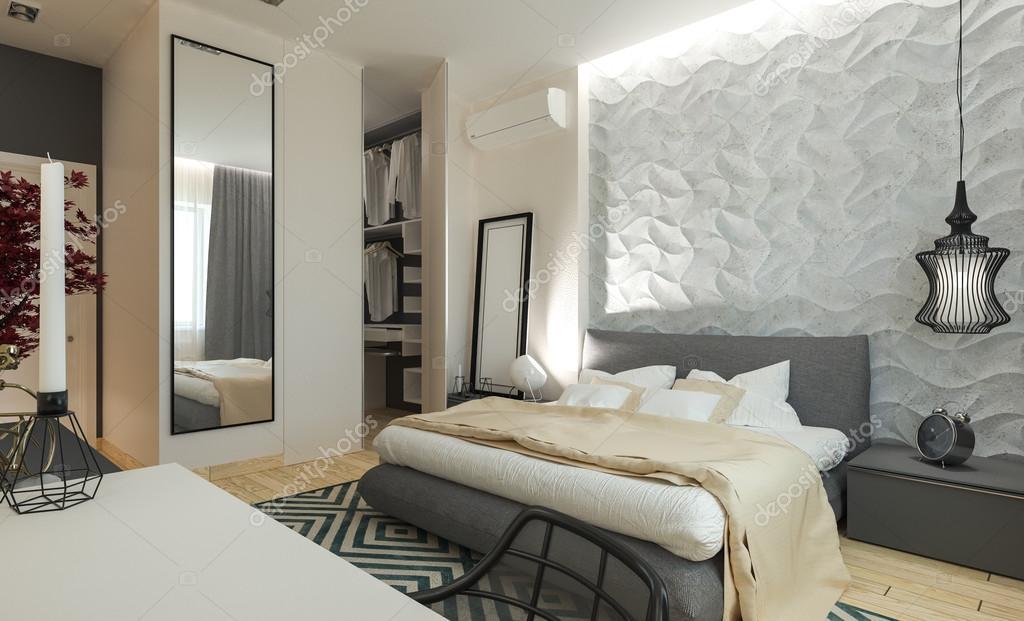 ... 卧室与现代风格的更衣室 3d 面板 — 图库图片#81829054