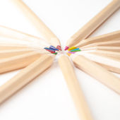 Colorful wooden pencils on white background — Stock Photo