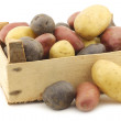 Yellow, red and purple potatoes in a wooden crate — Stockfoto #59157531