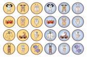 Zodiac web buttons — Stock Vector