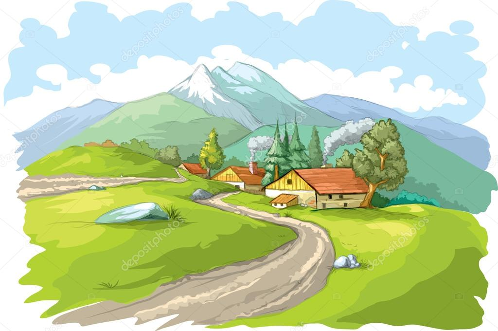 Село горами рисунок