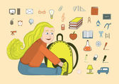 Girl with a backpack and school icons — Stock Vector