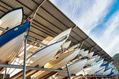 Power boats sheltered parking facility marina in Trinidad — Foto de Stock