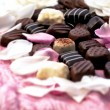 Chocolate truffles with white and pink rose petals — Stock Photo #67779323
