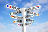 Europe Signpost — Stockfoto