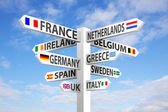 Europe Signpost — Stock Photo